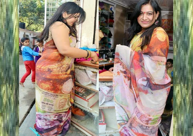 woman wear saree printed images of 500-1000 rs notes