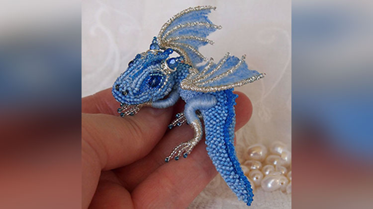 amazing Bead Dragon Brooches made by Alyona Lytvin