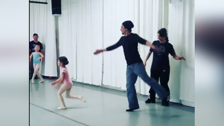 Daddy Daughter Ballet Class Held by Dance Center
