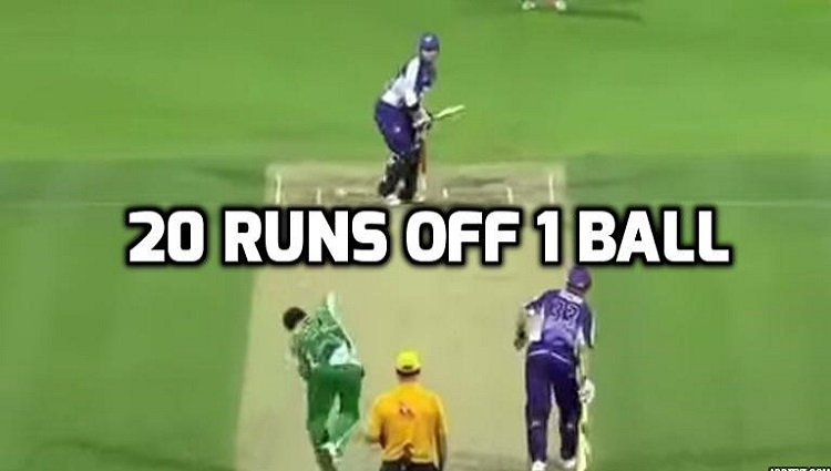 20 runs off 1 ball by Travis Birt