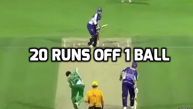 20 runs off 1 ball by Travis Birt
