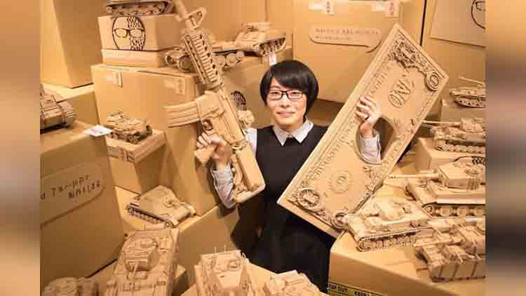 Japanese Artist Turns Old Amazon Boxes Into Tanks, Beer