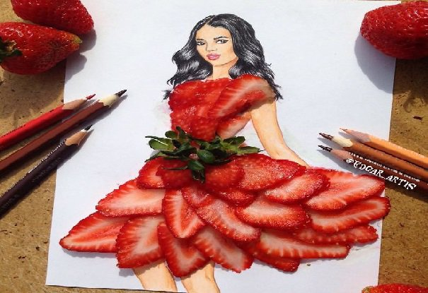 artist made dress for girl by used objects