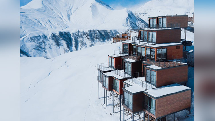 Quadrum ski and yoga resort made entirely from old shipping