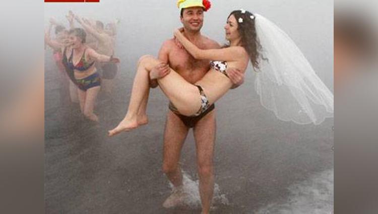 unusual weddings in underwear in minus 30 degree temperature viral pictures