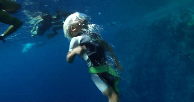 three year old boy can do free diving