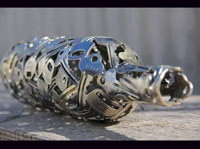 artist turns old keys into recycled art key ball