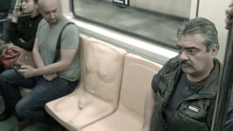 Metro installs men only sexist seats featuring a PENIS as part of sexual harassment campaign
