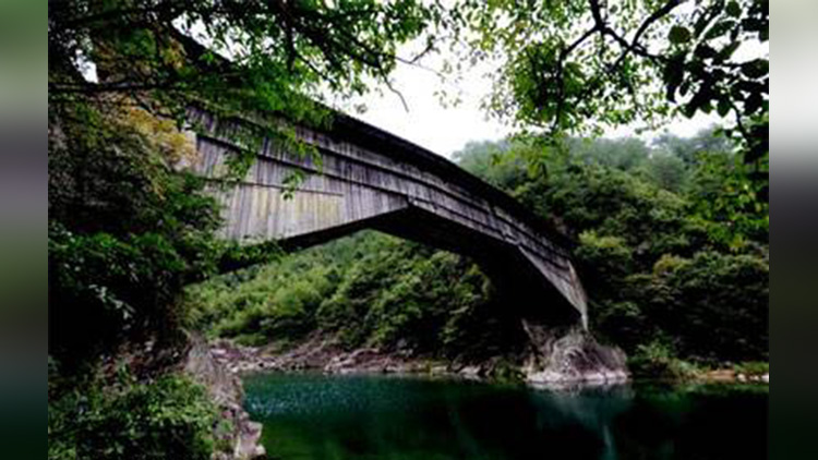very old wooden bridge in china