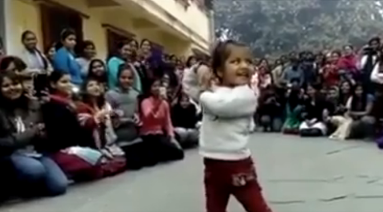 cute little girl dancing on many songs
