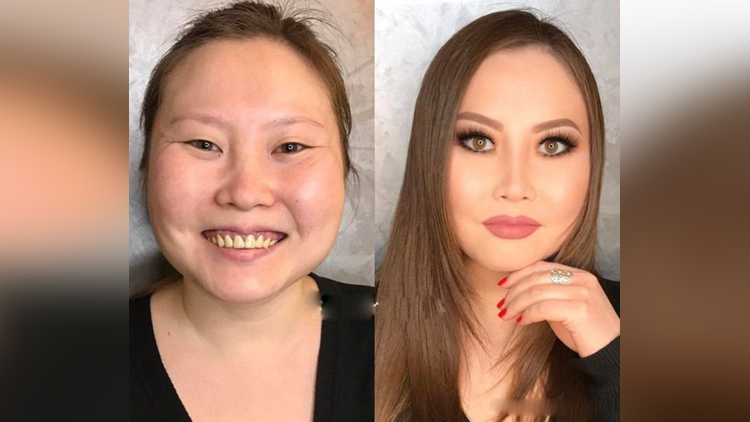 women in makeup and without makeup