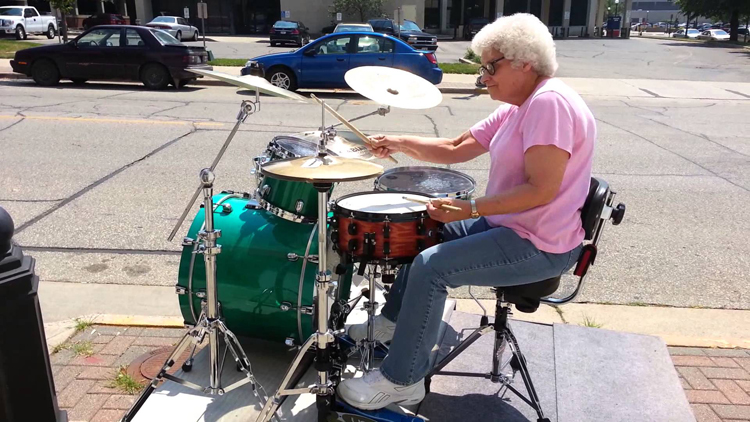 Grandma Drummer Tearing it up in Downtown La Crosse