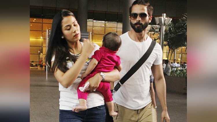 shahid kapoor at mumbai airport with wife meera and daughter misha