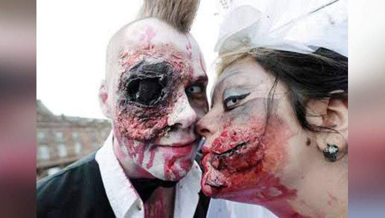 france People dress up as zombies to attend a festival of Halloween