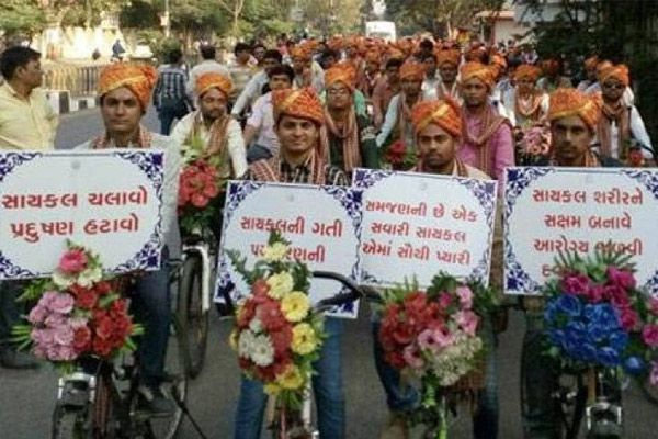 251 boys cycling rally for pollution