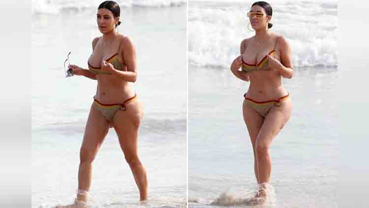 Kim Kardashian and Kourtney in bikinis on the beach in candid glimpse of yummy mummies in Mexico