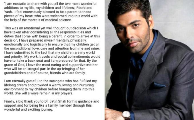 Omg!Karan Johar Becomes The Father Of Two Children Roohi And Yash Through Surrogacy