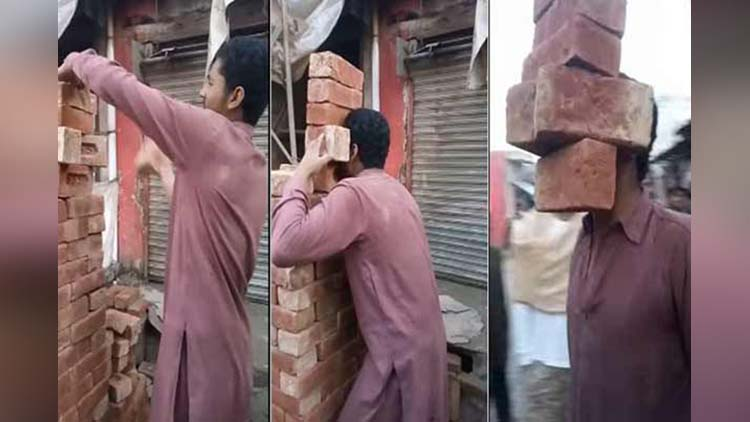 Pakistani Talented Boy Lifts 6 Bricks with Teeth