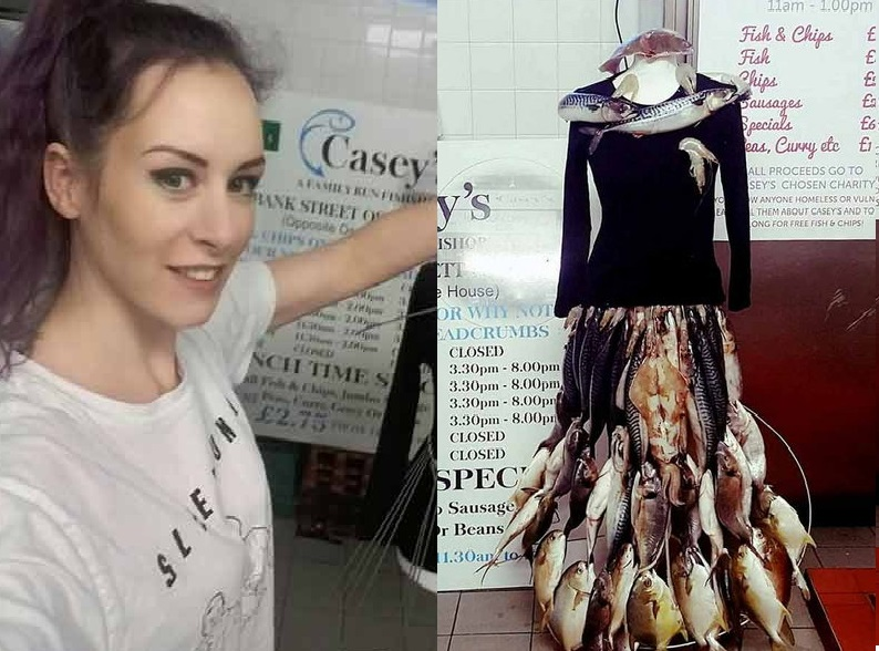 fashion designer Sarah Lewis made a gross dress