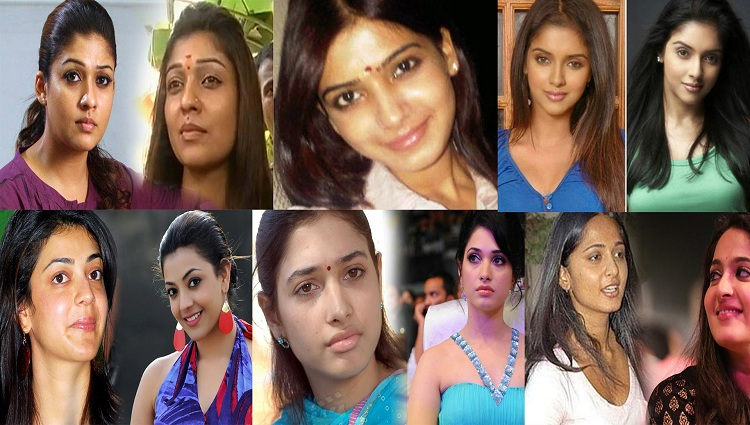 south actress with and without makeup