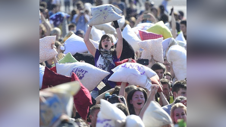International Pillow Fight Day viral pictures