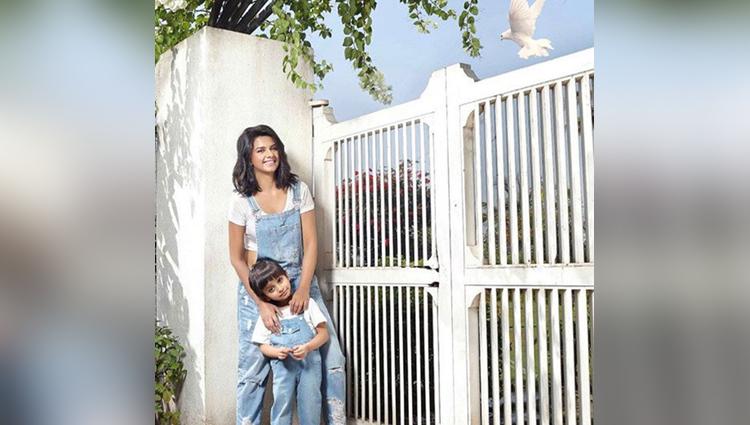 TV actress diljit kaur new photoshoot with her son jaydon