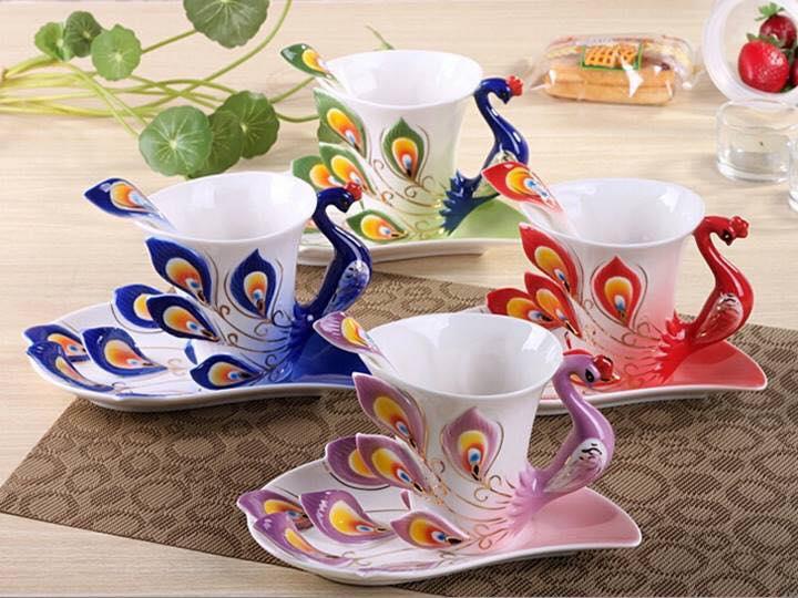 beautiful peacock cup and saucer set