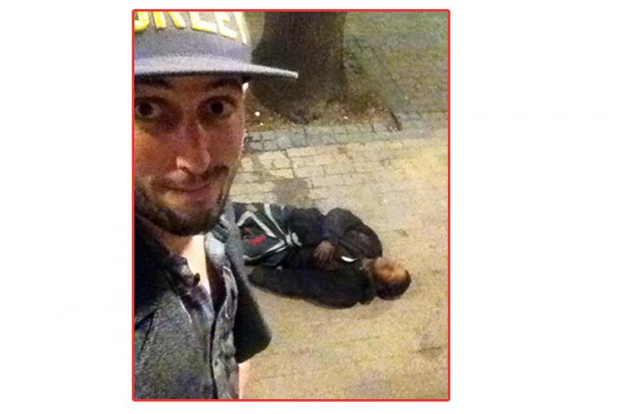 after punch take a selfie with robber