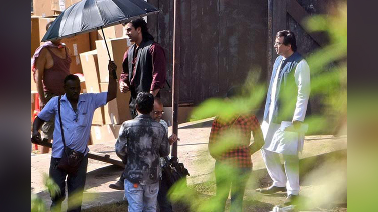 ranbir kapoor from the sets of sanjay dutt biopic