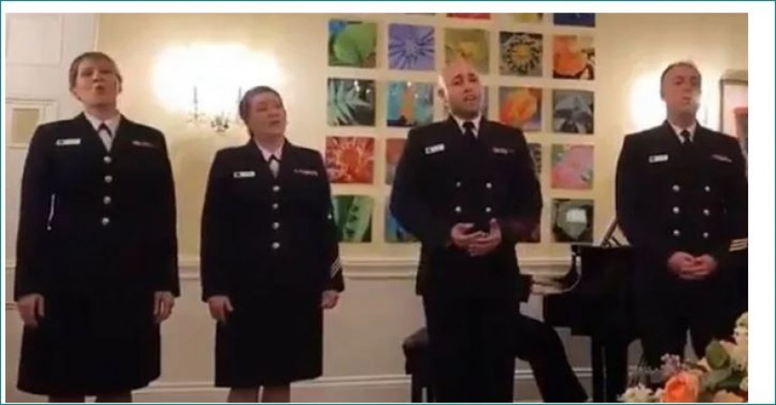 US Navy members sing Yeh Jo Des Hai Tera