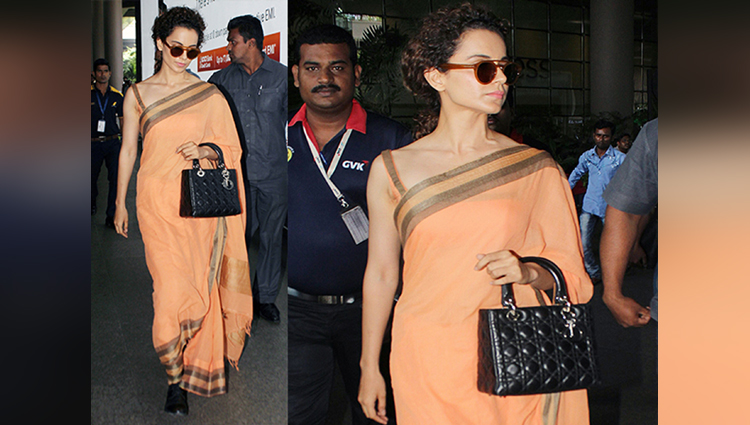 Peach Is The New Black Of Bollywood, Kangana Ranaut Spotted In Peach Sari At Airport