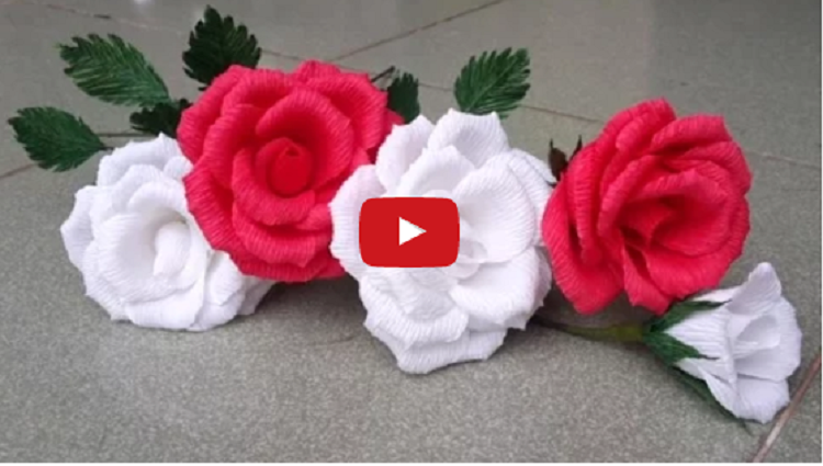 How To Make Rose Paper Flower From Crepe Paper Craft Tutorial