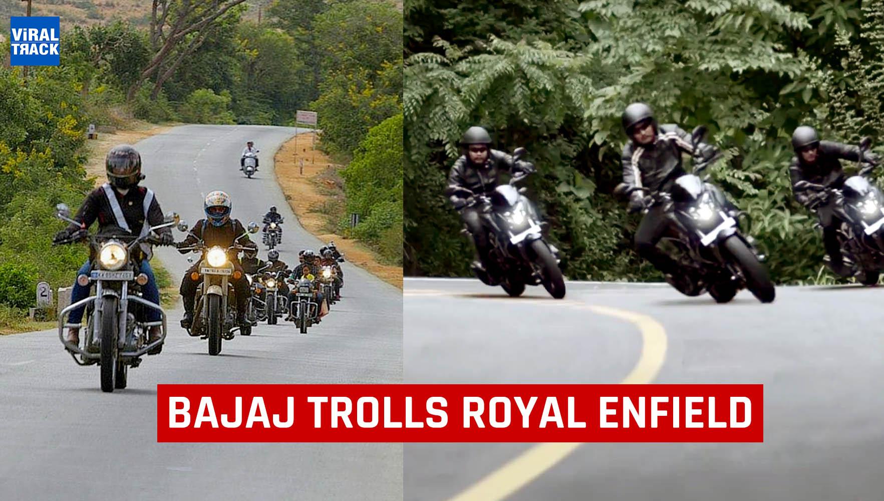 Bajaj dominar trolls royal enfield by commercial ad