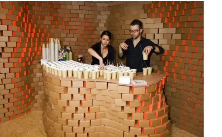 Indian Cafe Is Made Of Cardboard