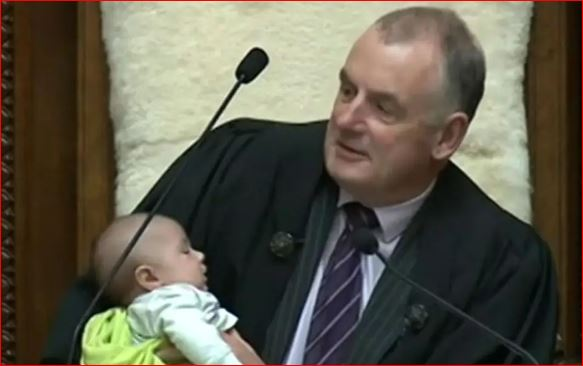 New Zealand parliamentary Speaker cradles and feeds