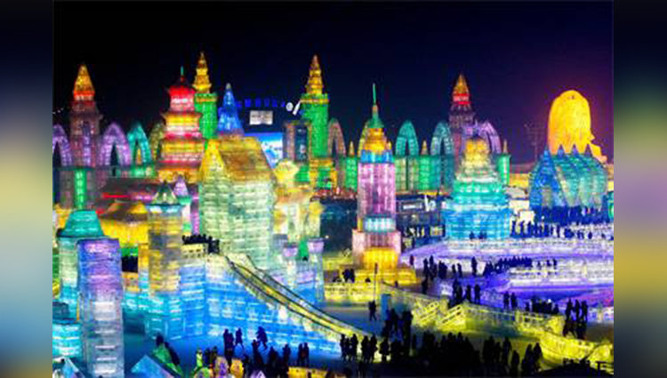 Harbin Ice and Snow Festival celebrating in china