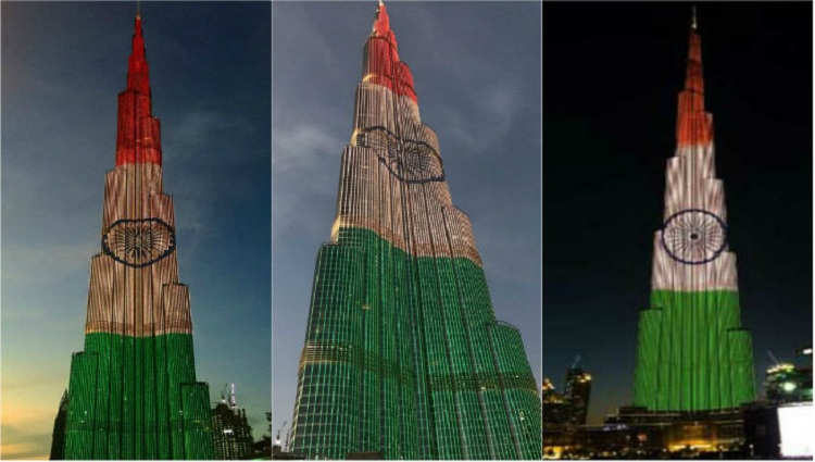 Worlds tallest tower Burj Khalifa lights up in tricolor to celebrate Republic Day of India