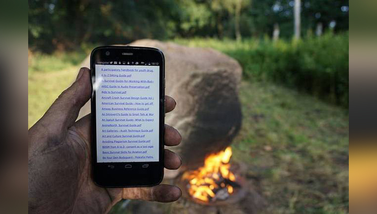 Flame-powered WiFi router in 1.5 ton boulder hides survival guide library
