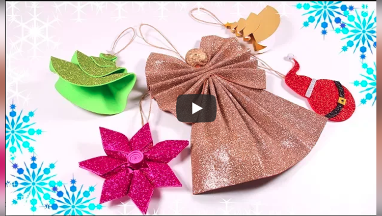 Foam Sheet Christmas Ornaments Sparkly Xmas Crafts Easy Ideas