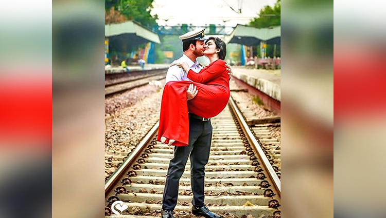 funny pre wedding photoshoot ideas of bride with groom