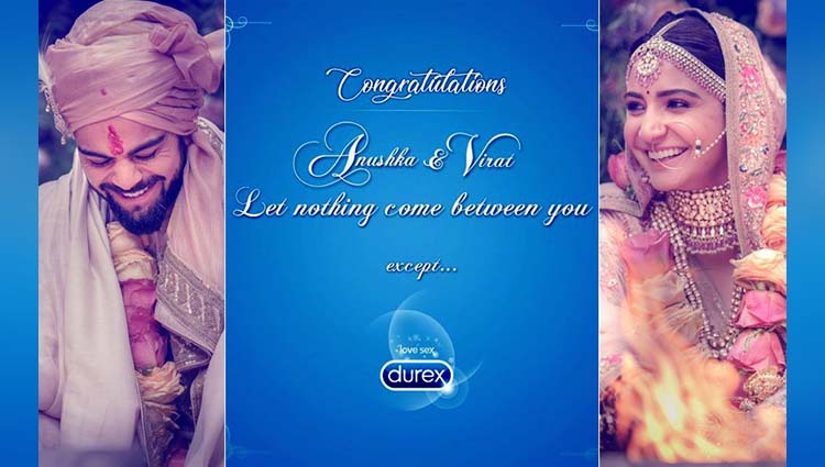 Durex hits a six with a message for Anushka Sharma and Virat Kohli