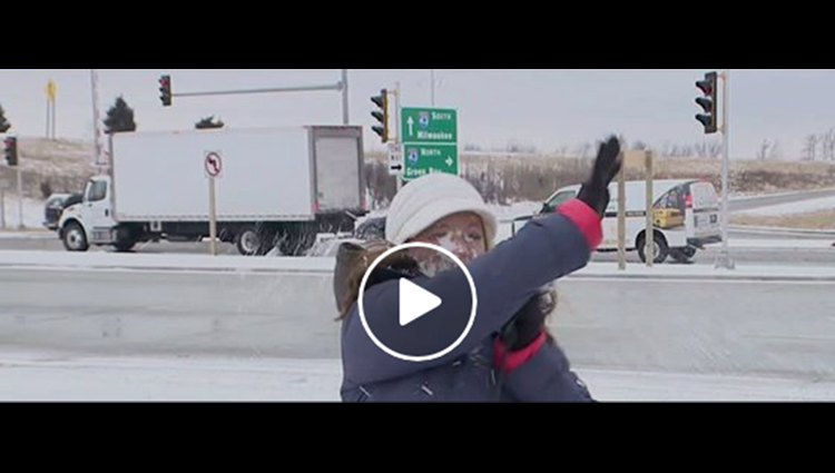 News anchor gets hit by a SNOWBALL before LIVE weather update and it is hilarious