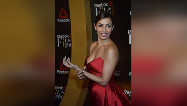 malaika arora latest photos in red gown