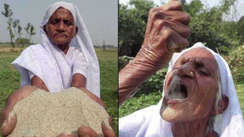 woman eat sand in madhyapradesh