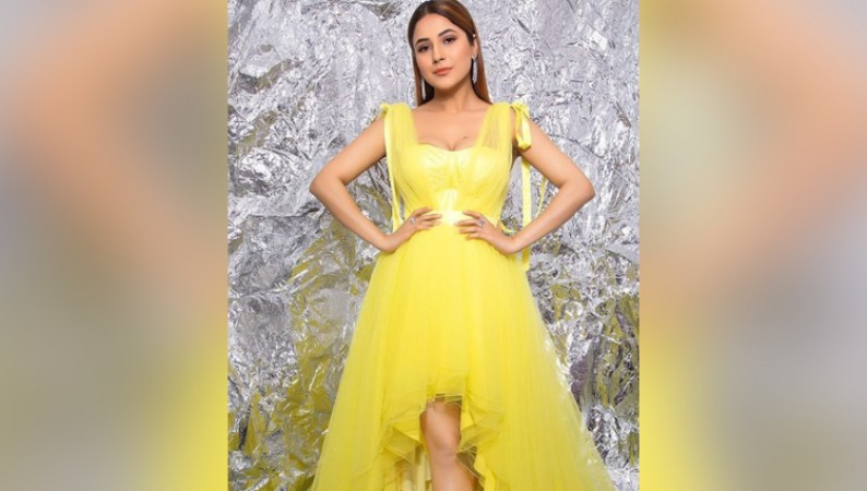 Shehnaaz Gill bold yellow dress photos
