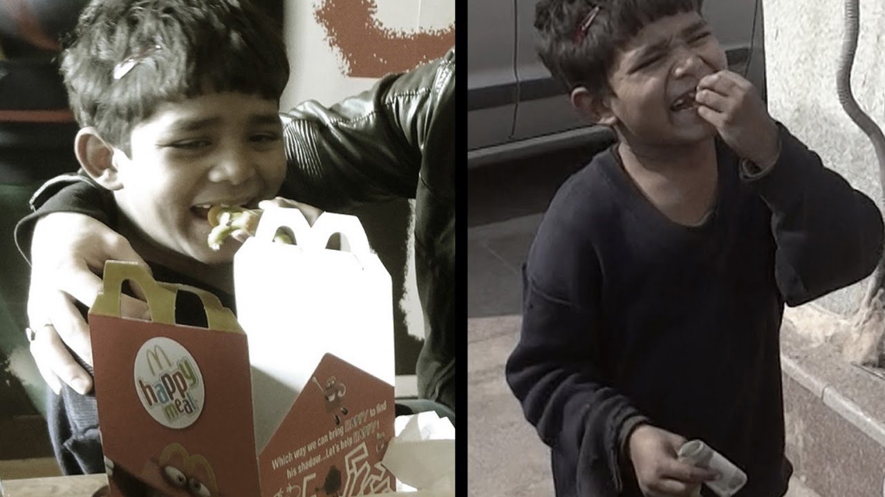 a poor kid got pizza mcdonald