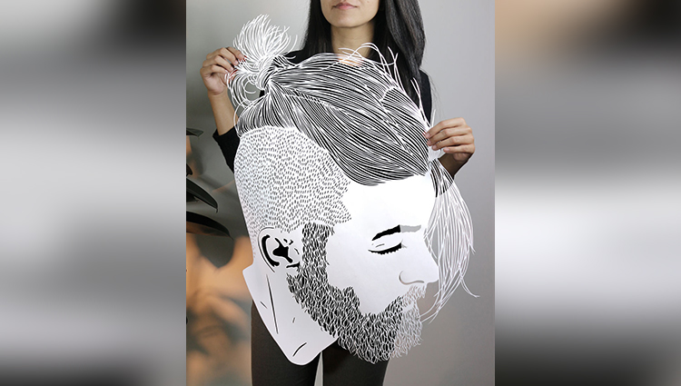 intricate hair papercuts parth kothekar