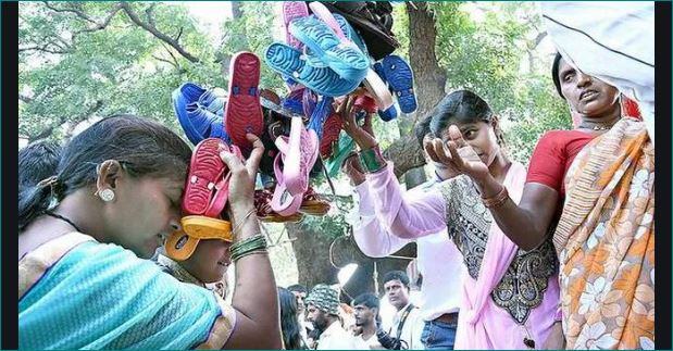 Two day annual footwear festival on at this temple