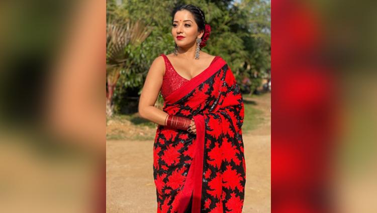 MONALISA red and black saree