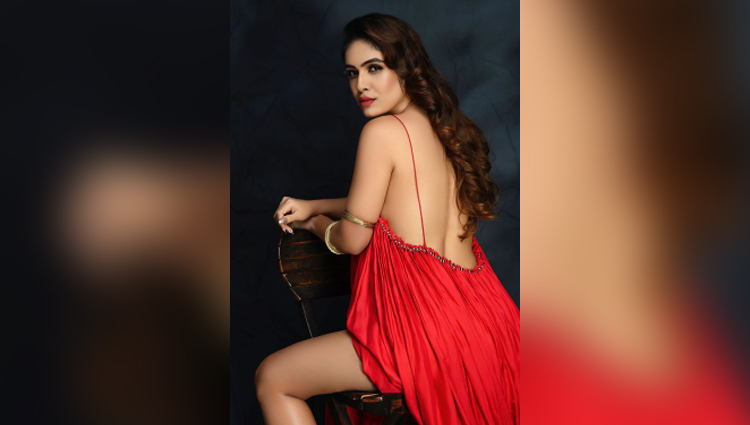 Neha Malik hot in red dress